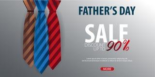 Engendrez la bannière de vente de jour du ` s, carte de voeux avec la cravate Illustration de vecteur Images libres de droits