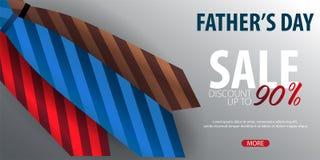 Engendrez la bannière de vente de jour du ` s, carte de voeux avec la cravate Illustration de vecteur Photographie stock