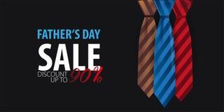 Engendrez la bannière de vente de jour du ` s, carte de voeux avec la cravate Illustration de vecteur Photo stock