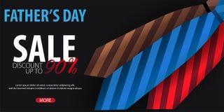 Engendrez la bannière de vente de jour du ` s, carte de voeux avec la cravate Illustration de vecteur Images stock