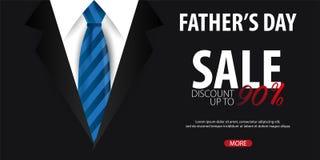 Engendrez la bannière de vente de jour du ` s, carte de voeux avec la cravate Illustration de vecteur Photographie stock libre de droits