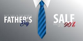 Engendrez la bannière de vente de jour du ` s, carte de voeux avec la cravate Illustration de vecteur Image stock