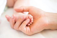 Engendrez tenir le pied de son fils nouveau-né Image libre de droits