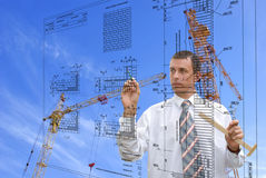 Engeneer-designer. The of engeneer-designer is carried out by construction plans Stock Images