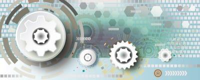 Engenharia abstrata da roda de engrenagem da tecnologia no fundo quadrado ilustração royalty free