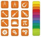 Engenharia e ícones das ferramentas Fotos de Stock Royalty Free