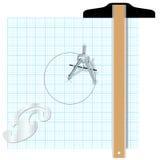 Engenharia quadrada de esboço do compasso das ferramentas Foto de Stock Royalty Free