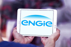 Engie logo. Logo of energy and home services company engie on samsung tablet stock image