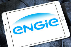Engie logo. Logo of energy and home services company engie on samsung tablet royalty free stock photos