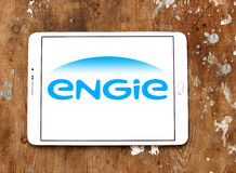 Engie logo. Logo of energy and home services company engie on samsung tablet on wooden background stock photos