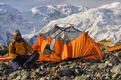 Engilchek glacier camping Stock Images