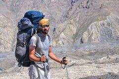 Engilchek glacier hiking Stock Photos