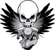 Engine à ailes de moto avec le crâne Photographie stock libre de droits
