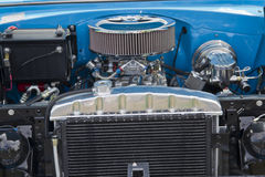 Engine of 1955 Chevrolet Bel Air. COMBINED LOCKS, WI - AUGUST 18: Engine of 1955 Chevrolet Bel Air Aqua Blue & White car at the 2nd Annual Horizon of Hope Royalty Free Stock Image