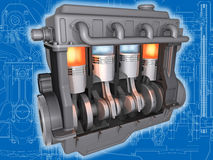 The engine. 3D cut of working car motor on the engineering drawing. Image with clipping path stock illustration