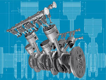 Engine. V8 engine pistons, valves and crankshaft on blueprint. 3D image Royalty Free Stock Photos