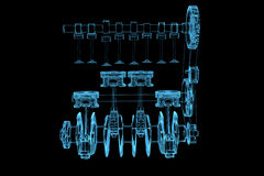 Engine. (3D x-ray blue transparent isolated on black Royalty Free Stock Images