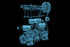 Engine. (3D x-ray blue transparent isolated on black Stock Photography