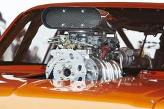 The engine. The drag-car engine royalty free stock photos