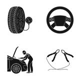 Engine adjustment, steering wheel, clamp and wheel black icons in set collection for design.Car maintenance station. Vector symbol stock illustration Stock Images