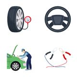 Engine adjustment, steering wheel, clamp and wheel cartoon icons in set collection for design.Car maintenance station. Vector symbol stock illustration Stock Image