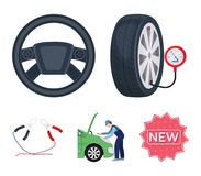 Engine adjustment, steering wheel, clamp and wheel cartoon icons in set collection for design.Car maintenance station. Vector symbol stock illustration Royalty Free Stock Image