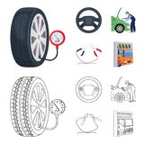 Engine adjustment, steering wheel, clamp and wheel cartoon,outline icons in set collection for design.Car maintenance. Station vector symbol stock illustration Stock Photo