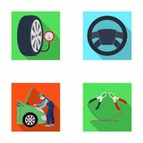 Engine adjustment, steering wheel, clamp and wheel flat icons in set collection for design.Car maintenance station. Vector symbol stock illustration Royalty Free Stock Image