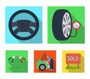 Engine adjustment, steering wheel, clamp and wheel flat icons in set collection for design.Car maintenance station. Vector symbol stock illustration Royalty Free Stock Photos