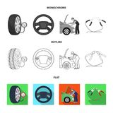 Engine adjustment, steering wheel, clamp and wheel flat,outline,monochrome icons in set collection for design.Car. Maintenance station vector symbol stock Royalty Free Stock Photos