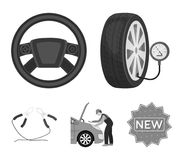 Engine adjustment, steering wheel, clamp and wheel monochrome icons in set collection for design.Car maintenance station. Vector symbol stock illustration Stock Image