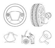 Engine adjustment, steering wheel, clamp and wheel outline icons in set collection for design.Car maintenance station. Vector symbol stock illustration Royalty Free Stock Photo