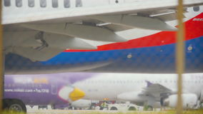 Engine of airplane close up stock footage