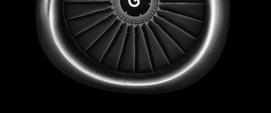 Engine airplane. close up of turbojet of aircraft. On black background Royalty Free Stock Photo