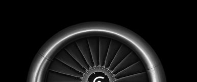 Engine airplane. close up of turbojet of aircraft. On black background Stock Image