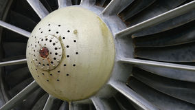 Engine of airplane. Detail of old aircraft turbines Stock Photo