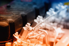 Engine of automobile. Close up of fragment of automobile engine Stock Photo