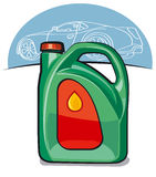 Engine automobile oil. Green can with engine automobile oil Royalty Free Stock Image