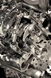 Engine Background. Metallic Modern Vehicle Engine Photo Background - Vertical Photo. Engine Closeup. Technology Photo Collection Royalty Free Stock Photo