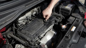 Engine bay, oil cap stock video footage