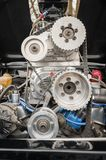 Vehicle engine bay and supercharger Stock Images