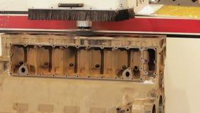 Engine block repair process. Internal combustion engine block. Turning of the engine block. Electronic lathe. FullHD stock video