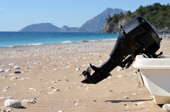 Engine boat on beach sea. Engine boat on background beach sea Stock Photo