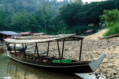 Engine boat in the river Sungai Tembeling Stock Images