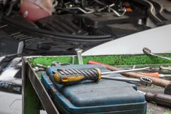 Engine car repair Stock Image