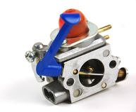 Engine and carburator for lawnmower stock photo