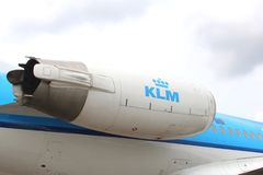 Engine of a KLM Cityhopper,Schiphol Airport, Holland Stock Images