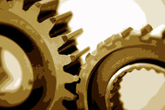 Engine Cogs. A background of cogwheels of an engine, in sepia tone Royalty Free Stock Photo
