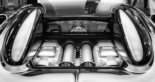 The engine compartment of the Bugatti Veyron EB 16.4 Stock Photo