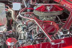 Engine compartment with chromed parts Royalty Free Stock Images